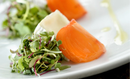 Camembert and persimmon salad with honey vinaigrette