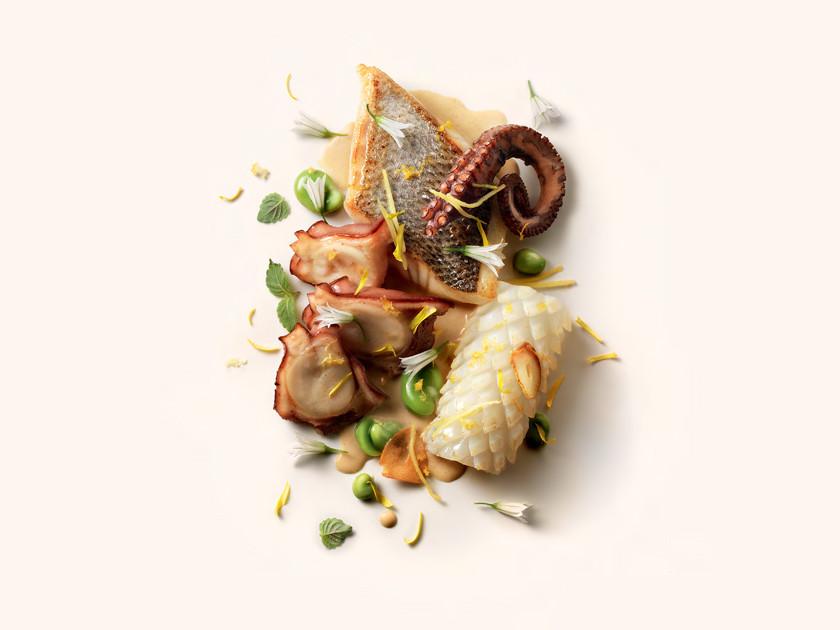 Terre et mer de méditerranée, jus de légumes d'hiver au beurre fumé